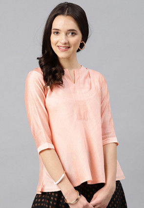 Solid Color Chanderi Silk Top in Peach