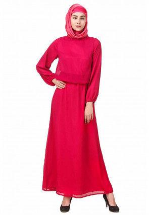Solid Color Chiffon Abaya in Fuchsia