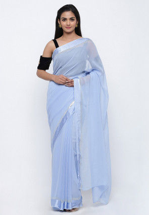 Solid Color Georgette Saree in Pastel Blue