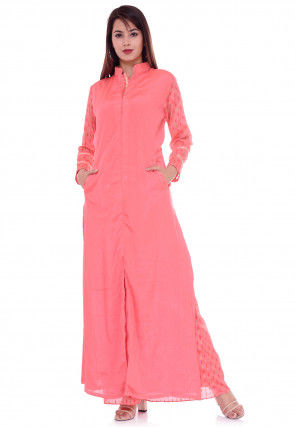 Solid Color Chinon Crepe Kurta Set in Pink