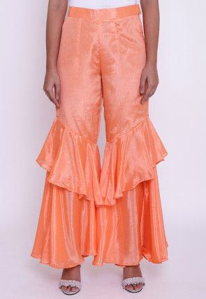 Solid Color Chinon Crepe Layered Ruffled Palazzo in Peach