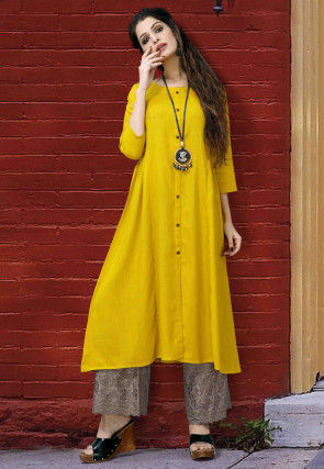 Solid Color Cotton A Line Kurta in Mustard