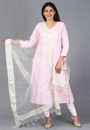 Solid Color Cotton A Line Suit in Pink