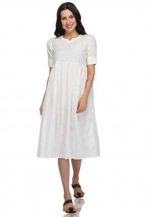 Solid Color Cotton A Line Tunic in White