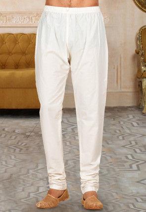 Solid Color Cotton Aligari Pant in Cream