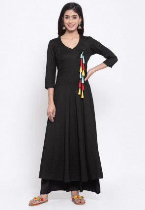 Solid Color Cotton Angrakha Style Kurta in Black