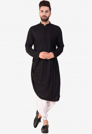 Solid Color Cotton Asymmetric Cowl Style Dhoti Kurta in Black