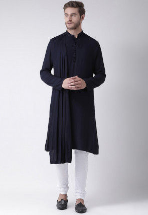 Solid Color Cotton Asymmetric Cowl Style Kurta Set in Black