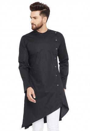 Solid Color Cotton Asymmetric Kurta in Black