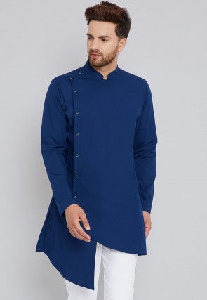 Solid Color Cotton Asymmetric Kurta in Dark Blue