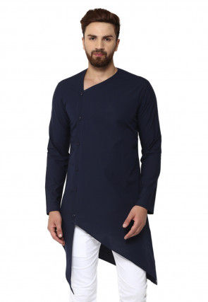 Solid Color Cotton Asymmetric Kurta in Navy Blue