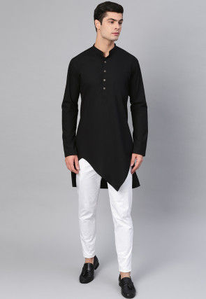 Solid Color Cotton Asymmetric Kurta Set in Black