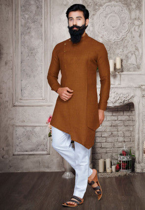 Solid Color Cotton Asymmetric Kurta Set in Brown