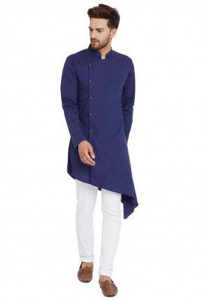 Solid Color Cotton Asymmetric Kurta Set in Dark Blue