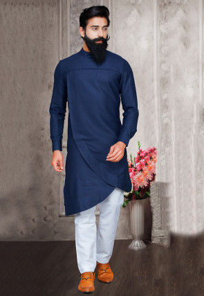 Solid Color Cotton Asymmetric Kurta Set in Navy Blue