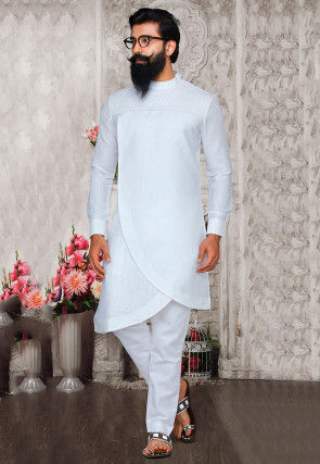 Solid Color Cotton Linen Asymmetric Kurta Set in Off White