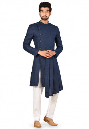 Solid Color Cotton Asymmetric Sherwani in Navy Blue