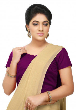 Solid Color Cotton Blouse in Magenta