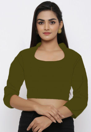 Solid Color Cotton Blouse in Olive Green