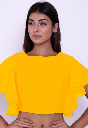 Solid Color Cotton Blouse in Yellow