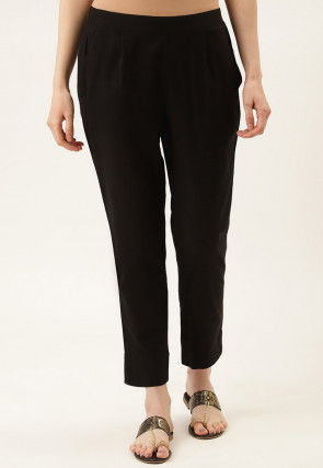 Solid Color Cotton Cambric Pant in Black