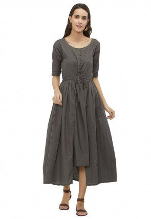 Solid Color Cotton Clinched Waist Midi Dress in Grey