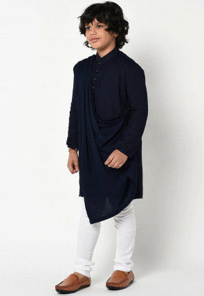 Solid Color Cotton Cowl Style Kurta Set in Navy Blue