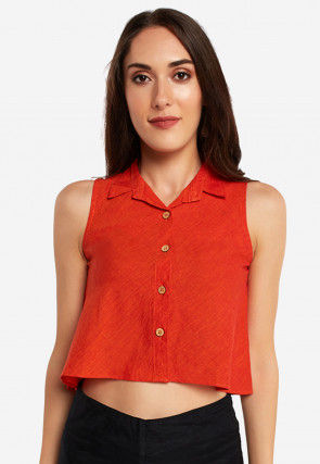 Solid Color Cotton Crop Top in Red