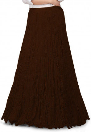 Solid Color Cotton Crushed Skirt in Dark Brown