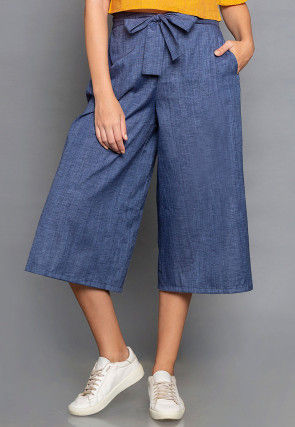Solid Color Cotton Culottes in Blue