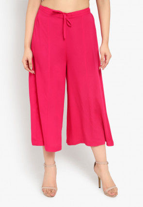 Solid Color Cotton Culottes in Fuchsia