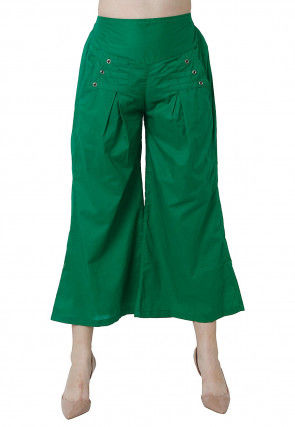 Solid Color Cotton Culottes in Green
