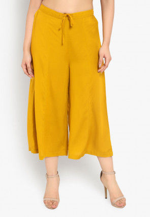 Solid Color Cotton Culottes in Mustard