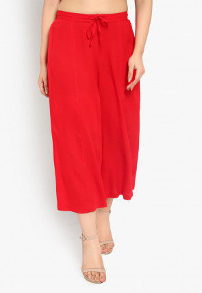 Solid Color Cotton Culottes in Red
