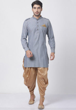 Solid Color Cotton Dhoti Kurta in Grey