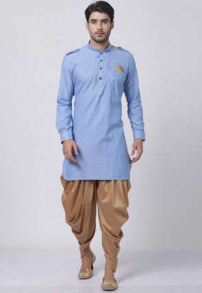 Solid Color Cotton Dhoti Kurta in Light Blue
