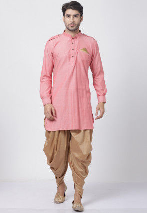 Solid Color Cotton Dhoti Kurta in Pink