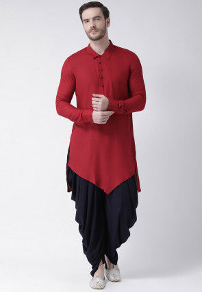 Solid Color Cotton Dhoti Kurta in Red