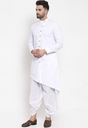 Solid Color Cotton Dhoti Kurta White