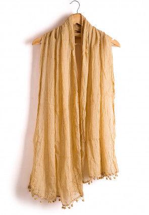 Solid Color Cotton Dupatta in Beige