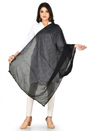 Solid Color Cotton Dupatta in Black