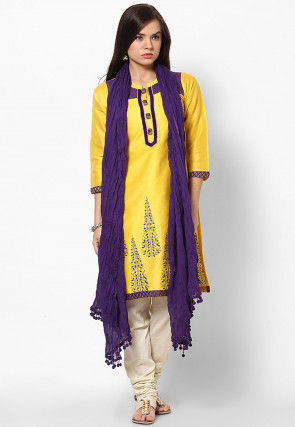 Solid Color Cotton Dupatta in Purple