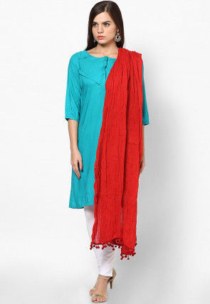 Solid Color Cotton Dupatta in Red