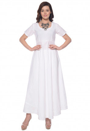 Solid Color Cotton Flared Kurta in White