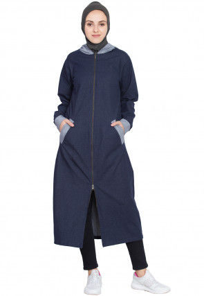 Solid Color Cotton Front Open Abaya in Navy Blue