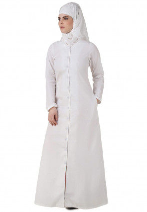Solid Color Cotton Front Open Abaya in White
