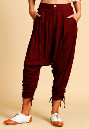 Solid Color Cotton Harem Pant in Maroon