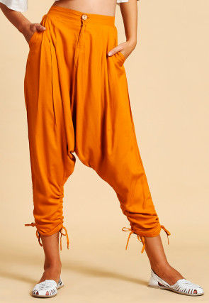 Solid Color Cotton Harem Pant in Mustard