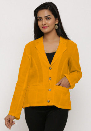 Solid Color Cotton Jacket in LIght Mustard