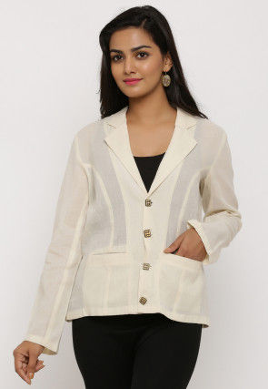 Solid Color Cotton Jacket in Off White
